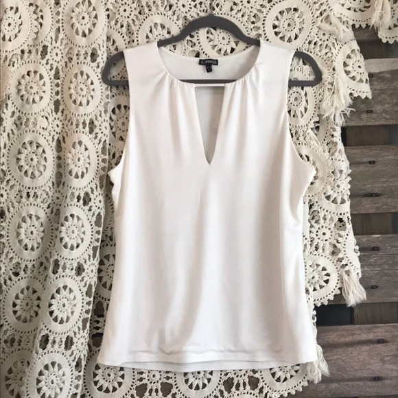 Express Tops - EXPRESS cream top with deep-V keyhole